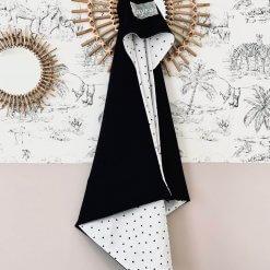 badcape geborduurd zwart wit
