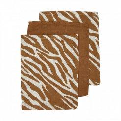 Meyco 3-pack washandjes - Zebra-Uni camel-Zebra
