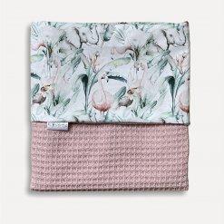 Babydeken roze jungle gebreid