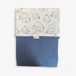 Ledikantdeken wafelstof blauw olifantjes